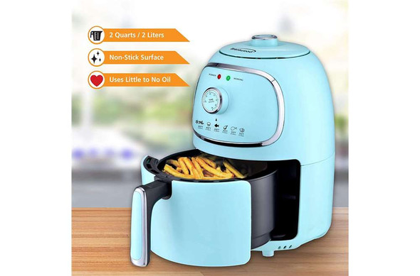 2-Quart 1,200-Watt Electric Air Fryer with Timer and Temperature Control (Blue)