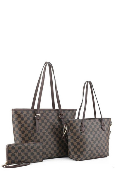 Monogram Two-tone 3 In 1 Twin Tote Wallet Set