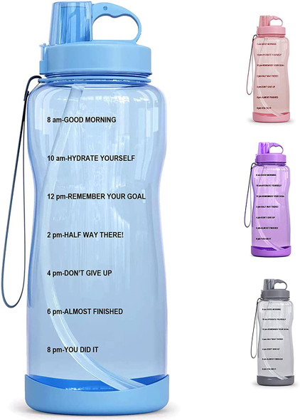 64 OZ/Half Gallon Motivational Water Bottle with Time Marker & Straw