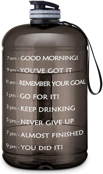 BuildLife Gallon Water Bottle with Straw & Motivational Time Marker