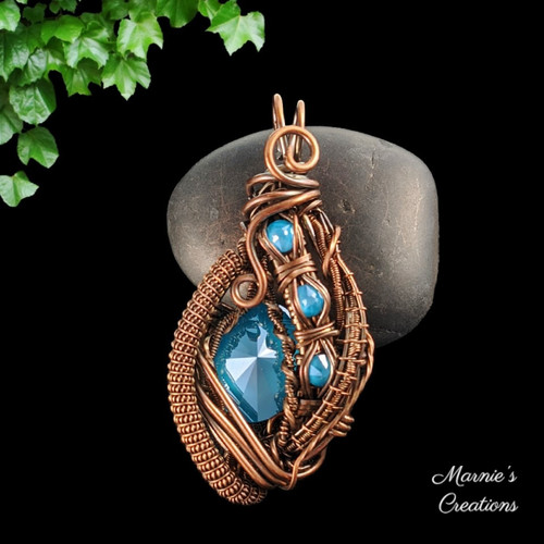 Copper wire wrapped pendant with Swarovski crystals