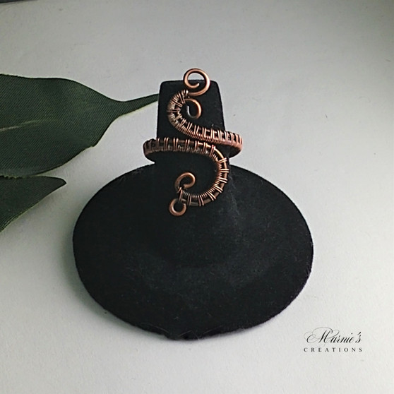 Copper wire weave snake style adjustable ring