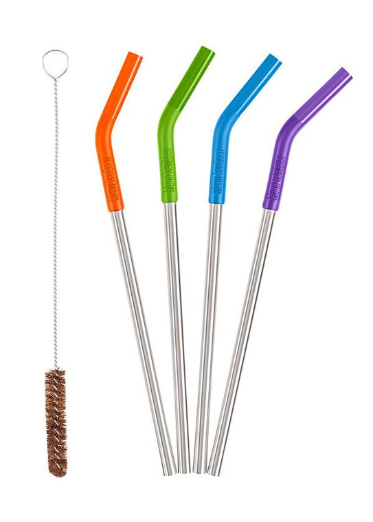 5PC STAINLESS STEEL STRAW SET - MULTI-COLOURED