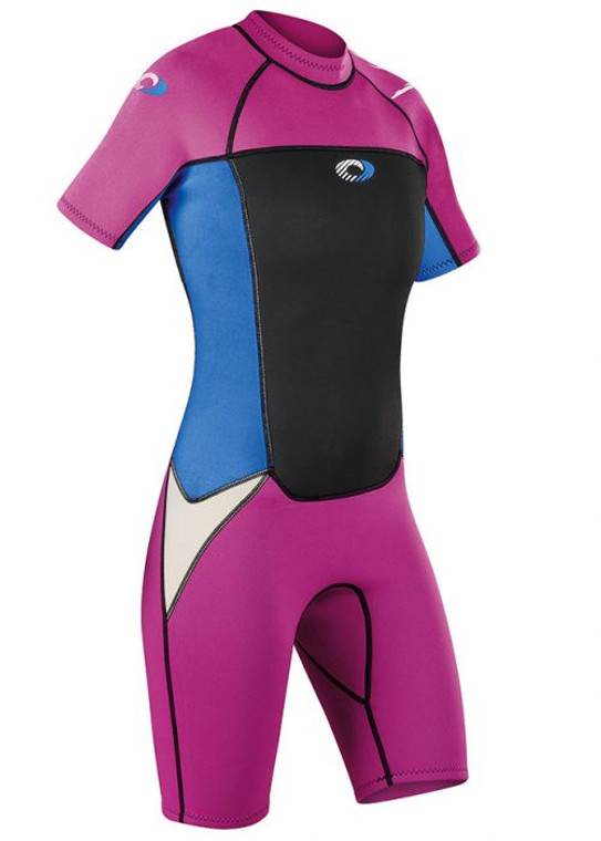 Girl's Origin Pink/Blue Shorty 3/2mm Wetsuit