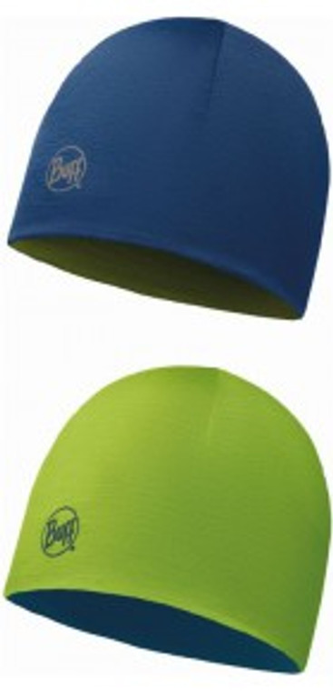 BUFF JUNIOR MERINO REVERSIBLE HAT (LIME / BLUEBIRD)