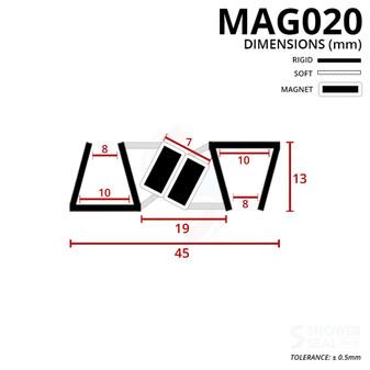 MAG020 - Magnetic Shower Door Seal Diagram