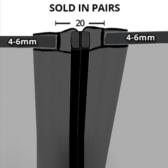 MAG010B - Black Magnetic Shower Door Seal