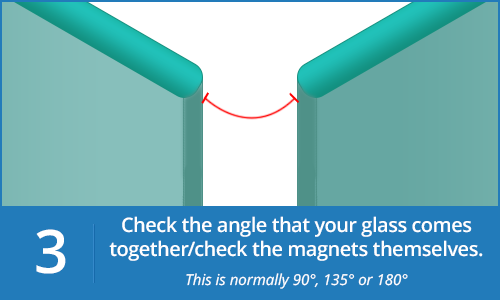 Check the angle between your magnetic shower door seals