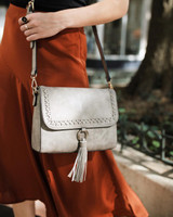 M1804A Sandy Structured Crossbody w/ Whipstitch and Tassel