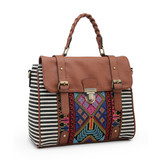 M1944 Harlow Aztec Embroidered Satchel w/ Braided Handle and Detachable Strap