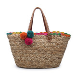 Tote w.Natural seagrass tote w/ inner snap closure and seagrass pompom tassel