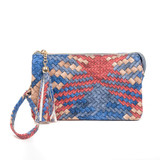 M013WV Riley Faux Woven 3 Compartment Crossbody/Wristlet
