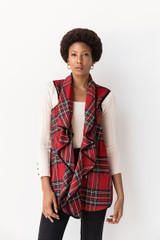 Victoria Plaid Waterfall Vest