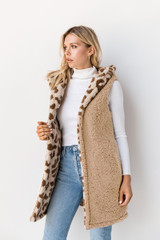 Nora Reversible Printed Hooded Sherpa Vest