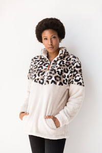 Kate Contrast Print Sherpa Pullover
