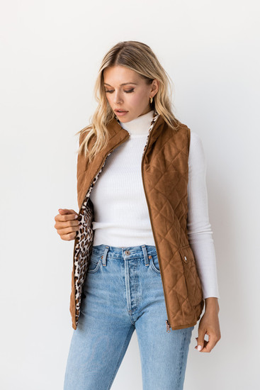 Dana Quilted Reversible Sherpa Vest