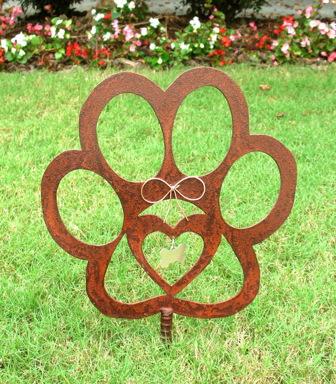 Dog Paw Pet Memorial Garden Stake - Metal Yard Art - Metal Garden Art - Rusty - Rustic
