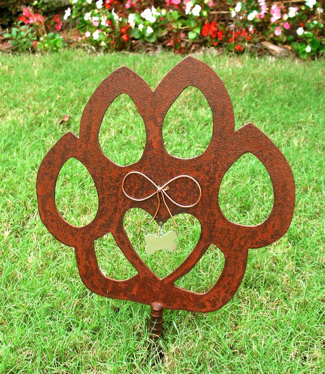 Cat Paw Pet Memorial Garden Stake - Metal Yard Art - Metal Garden Art - Rusty - Rustic