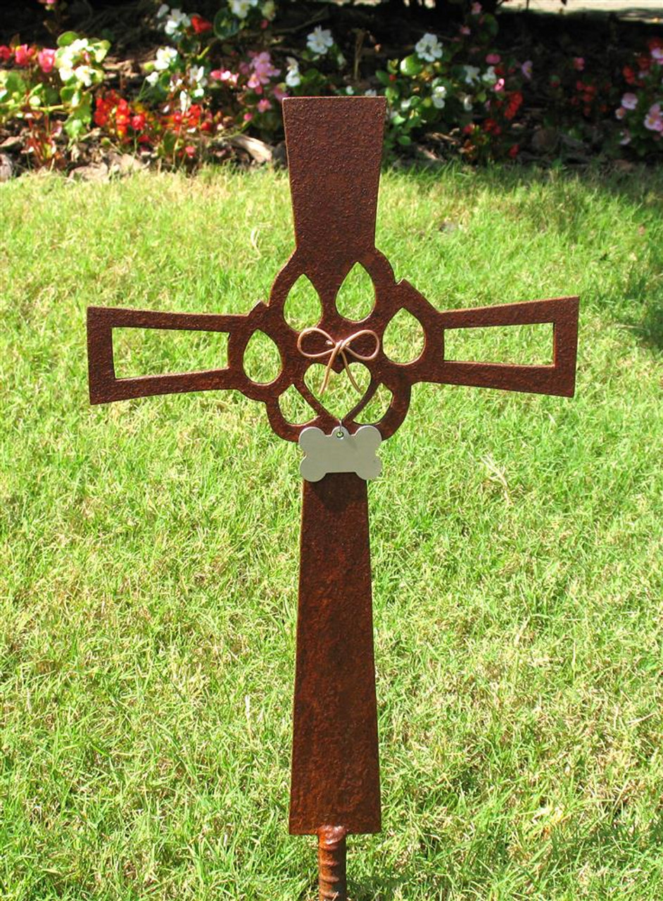 Cat Pet Memorial Cross Garden Stake - Metal Yard Art - Metal Garden Art - Metal Cross - Rusty - Rustic - Design 2