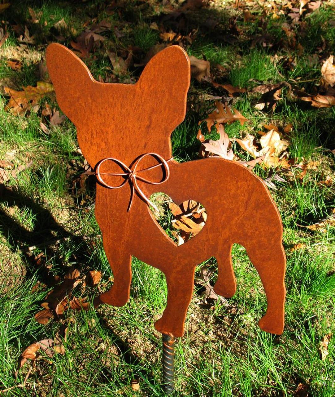French Bulldog 2 Garden Stake - Metal Yard Art - Metal ...