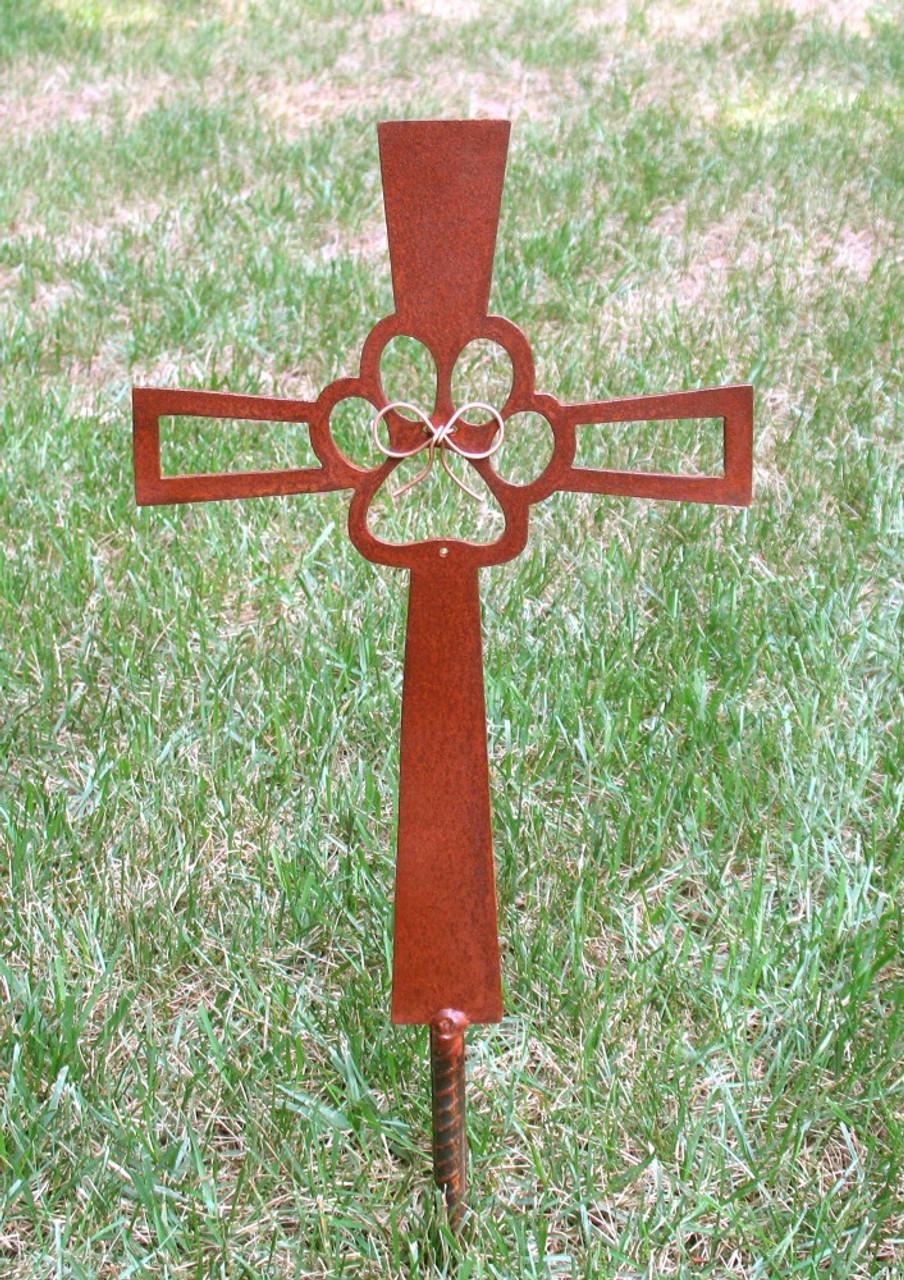 Pet Memorial Cross Garden Stake - Dog - Metal Yard Art - Metal Garden Art - Metal Cross - Rusty - Design 2