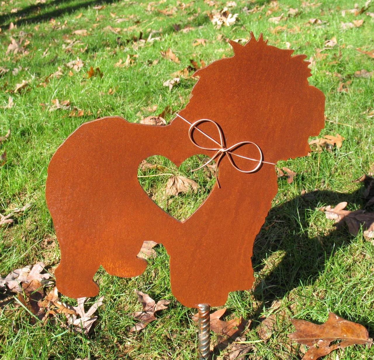 Old English Sheepdog Dog Metal Garden Stake - Metal Yard Art - Metal Garden Art - Pet Memorial