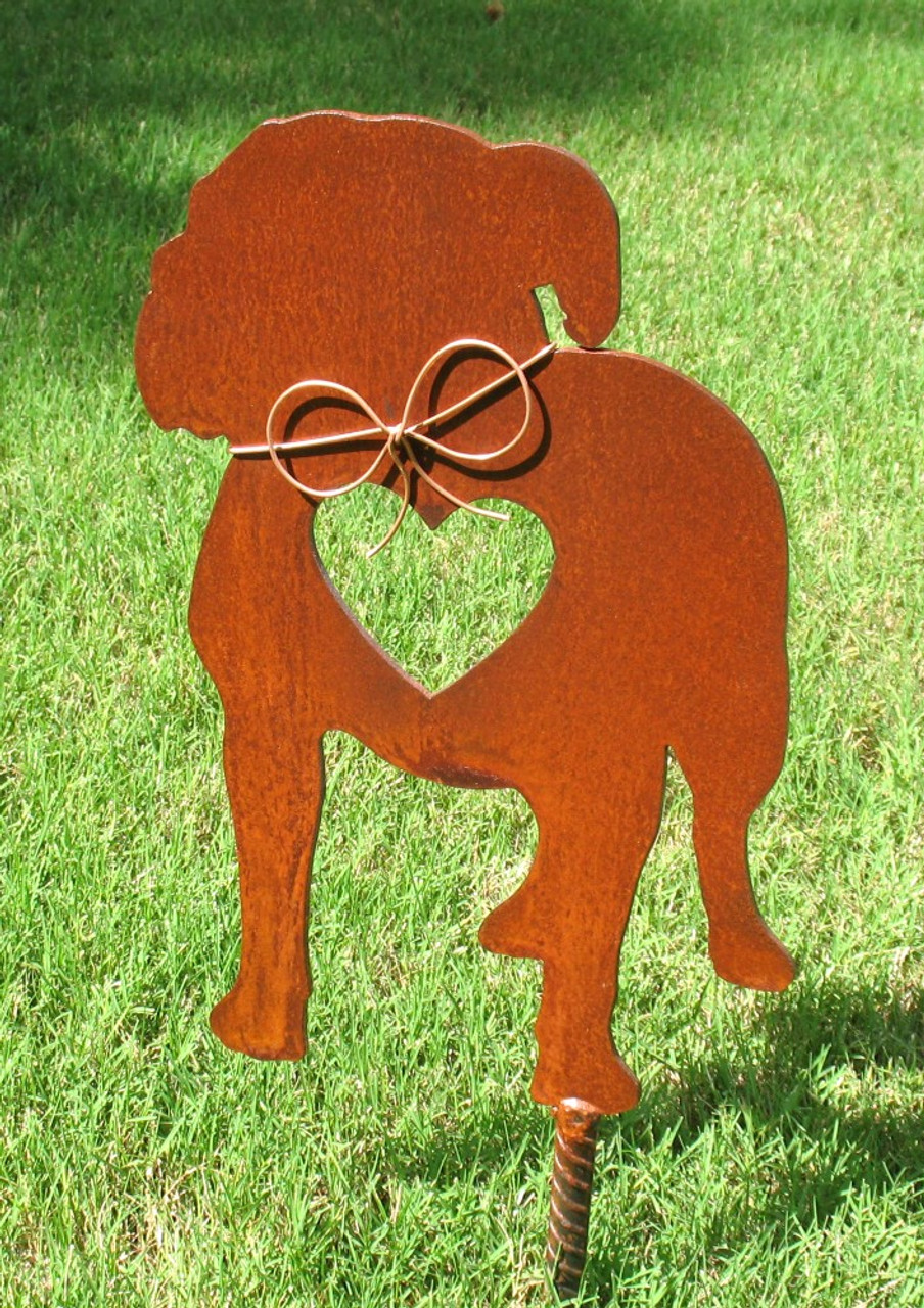 American Bulldog Dog Metal Garden Stake - Metal Yard Art - Metal Garden Art - Pet Memorial
