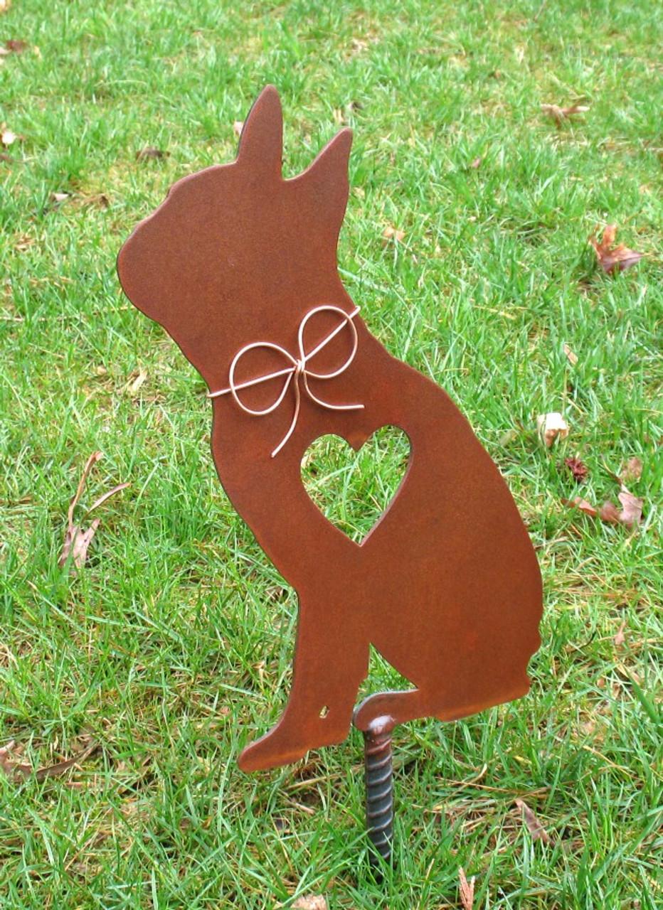 Boston Terrier 2 Dog - Metal Garden Stake - Metal Yard Art - Metal Garden Art - Pet Memorial