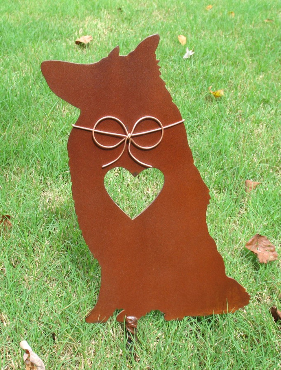 Rough Collie Dog Metal Garden Stake - Metal Yard Art - Metal Garden Art - Pet Memorial