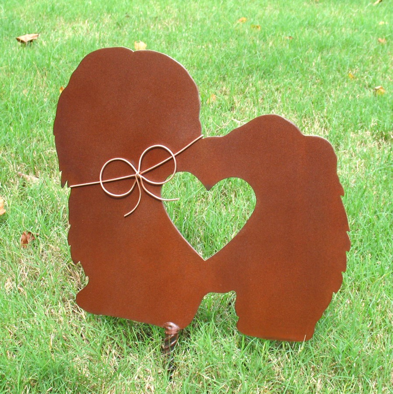 Long Haired Lhasa Apso Dog Metal Garden Stake - Metal Yard Art - Metal Garden Art - Pet Memorial