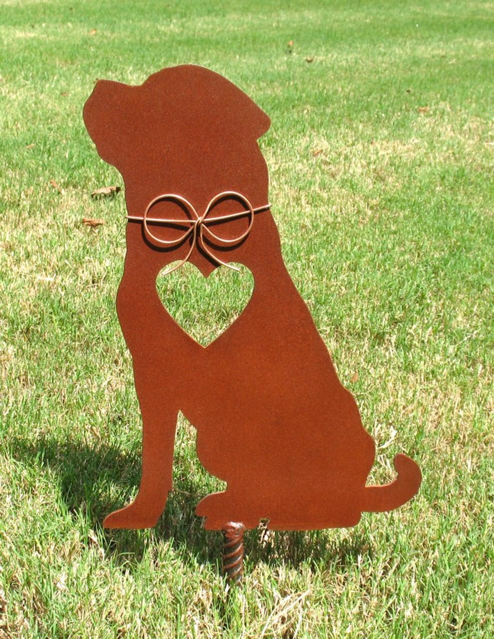 Rottweiler 2 Dog Metal Garden Stake - Metal Yard Art - Metal Garden Art - Pet Memorial