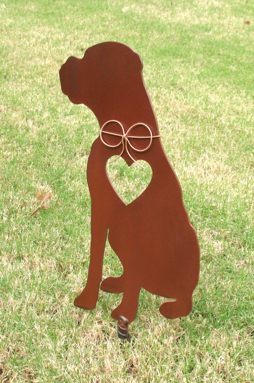 Boxer Dog Metal Garden Stake - Metal Yard Art - Metal Garden Art - Pet Memorial - Design 4