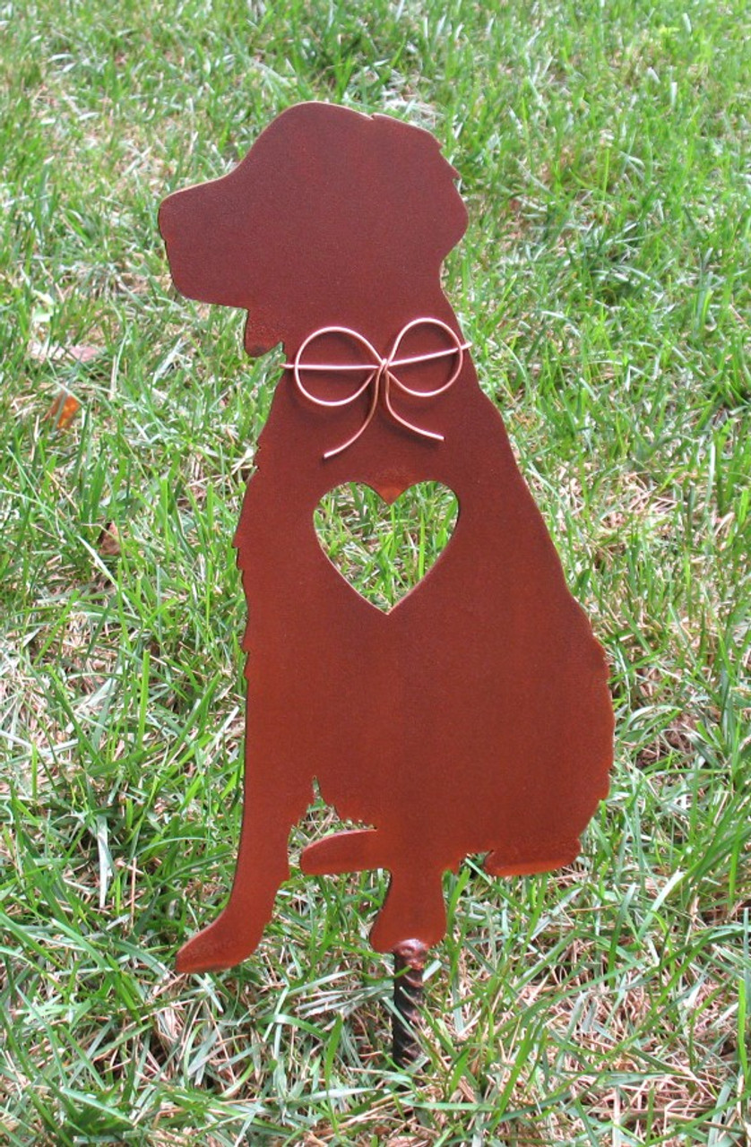 Brittany Spaniel Metal Garden Stake - Metal Yard Art - Metal Garden Art - Pet Memorial - Design 2