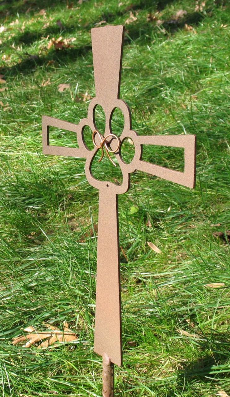 Painted Pet Memorial Cross Metal Garden Stake - Metal Yard Art - Metal Garden Art - Metal Cross - 2