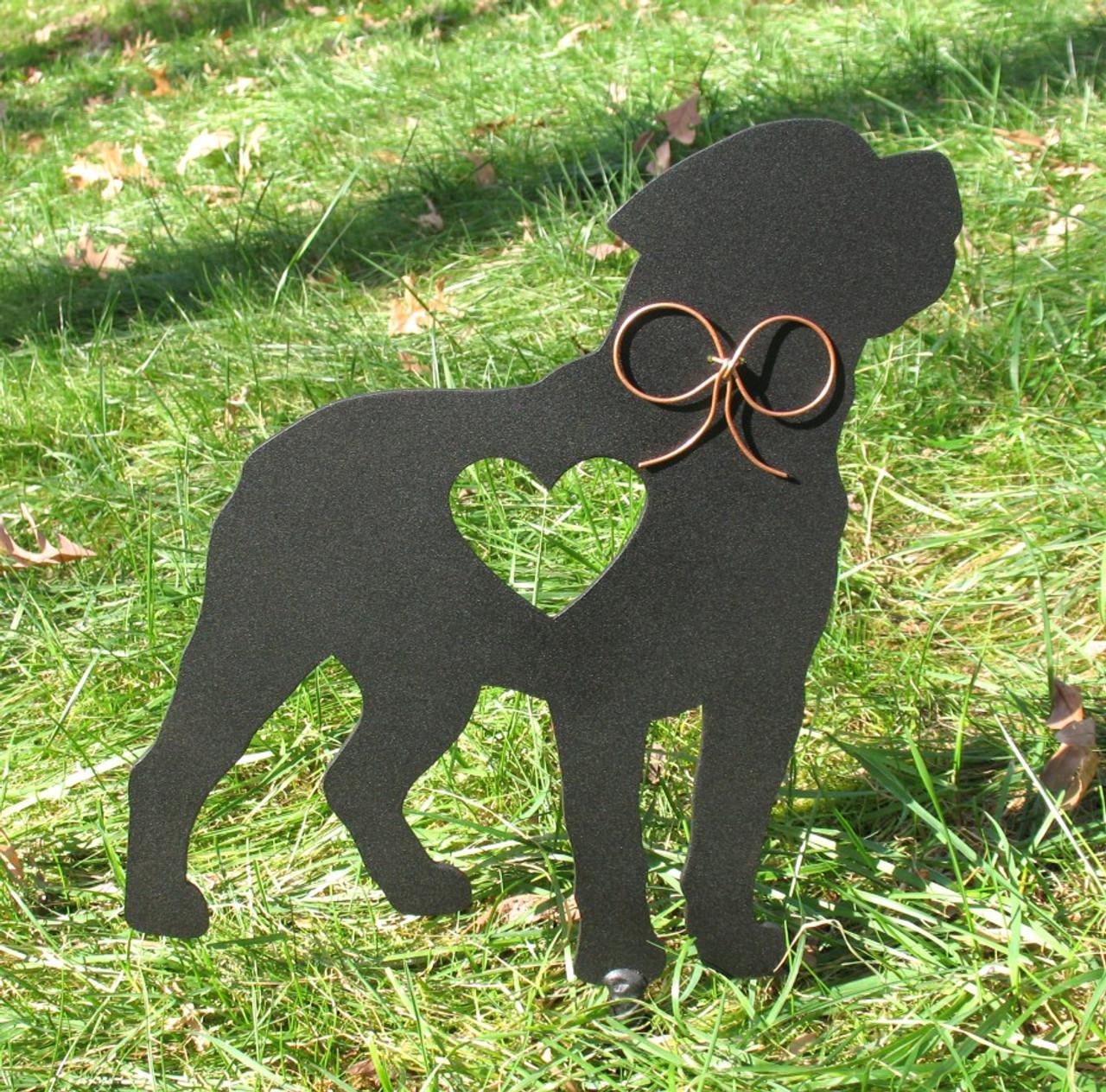 Painted Rottweiler Dog Metal Garden Stake - Metal Yard Art - Metal Garden Art - Pet Memorial - 1