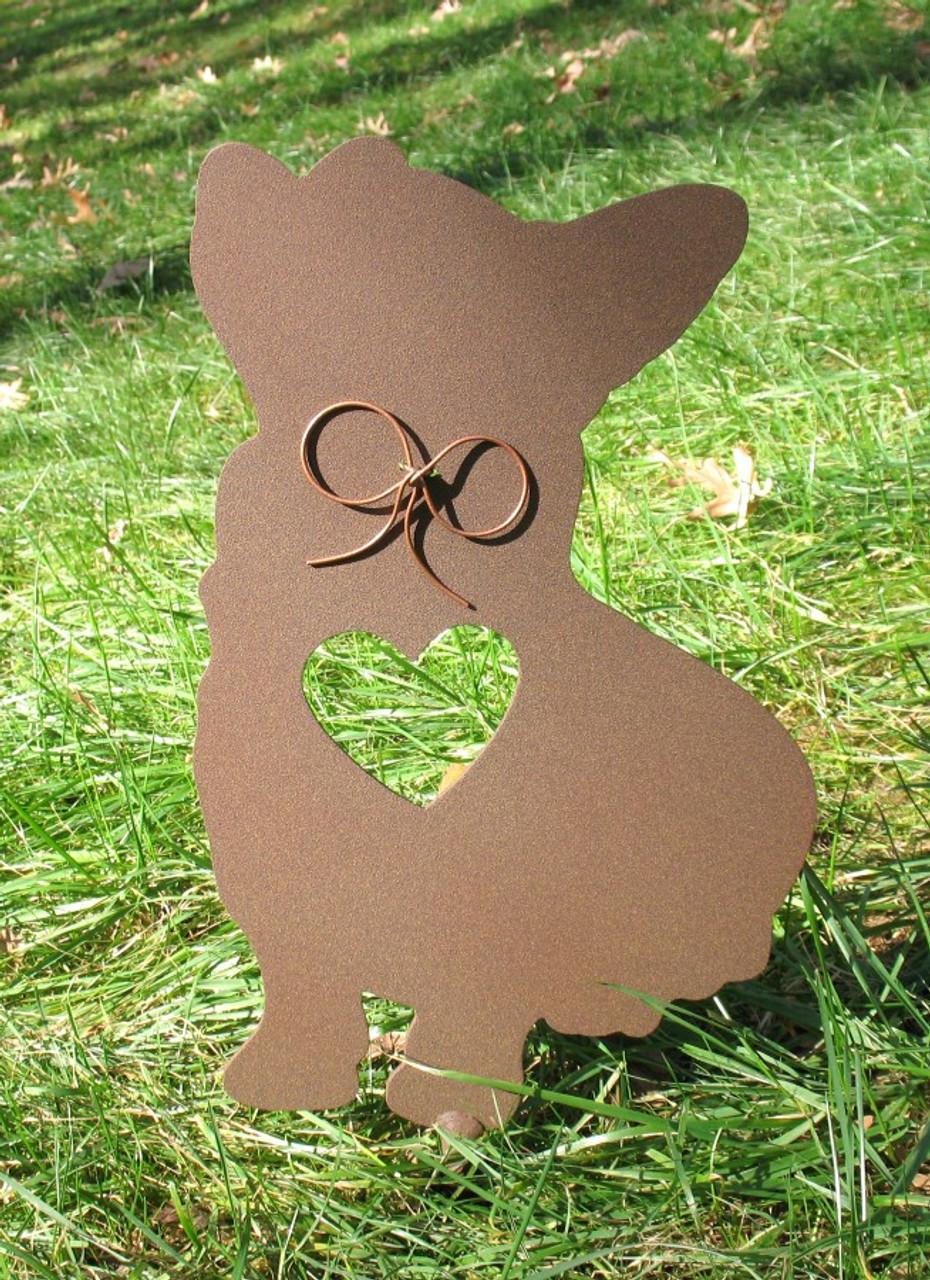 Painted Corgi Dog Metal Garden Stake - Metal Yard Art - Metal Garden Art - Pet Memorial - 1