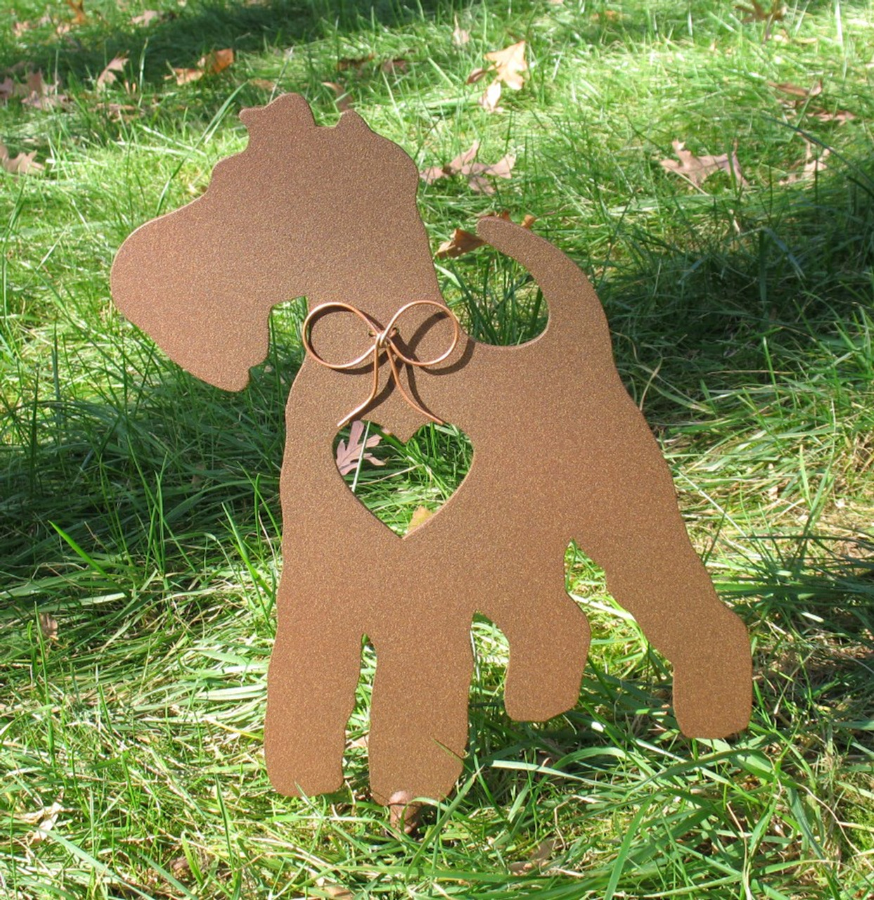Painted Wire Fox Terrier Dog Metal Garden Stake - Metal Yard Art - Metal Garden Art - Pet Memorial - 1