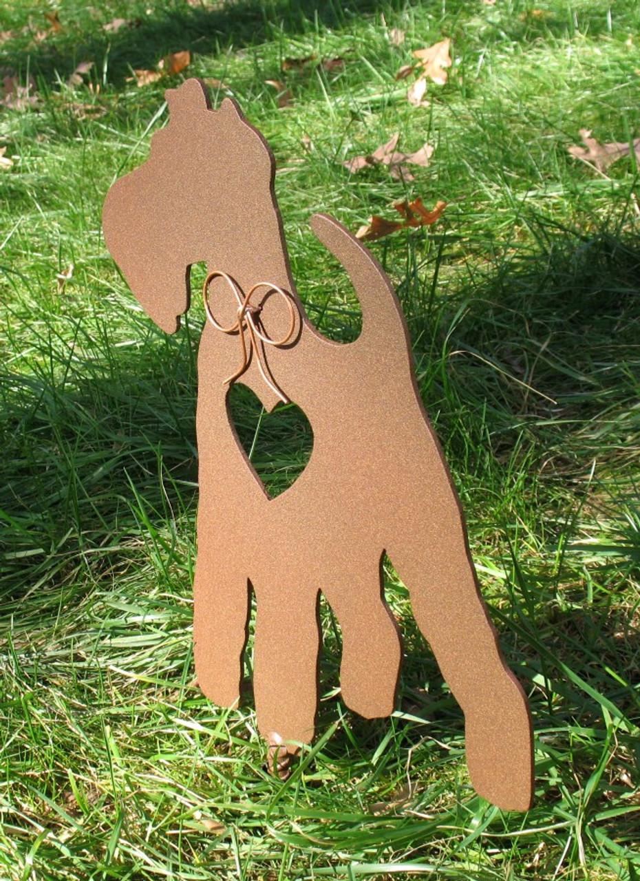 Painted Wire Fox Terrier Dog Metal Garden Stake - Metal Yard Art - Metal Garden Art - Pet Memorial - 1