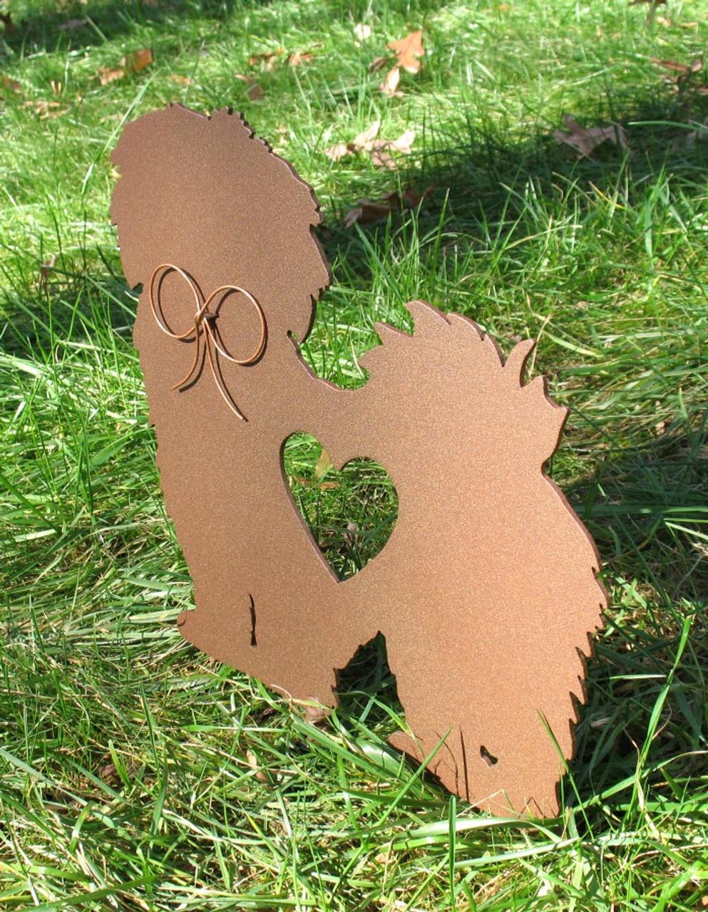 Painted Lhasa Apso Dog Metal Garden Stake - Metal Yard Art - Metal Garden Art - Pet Memorial - 1