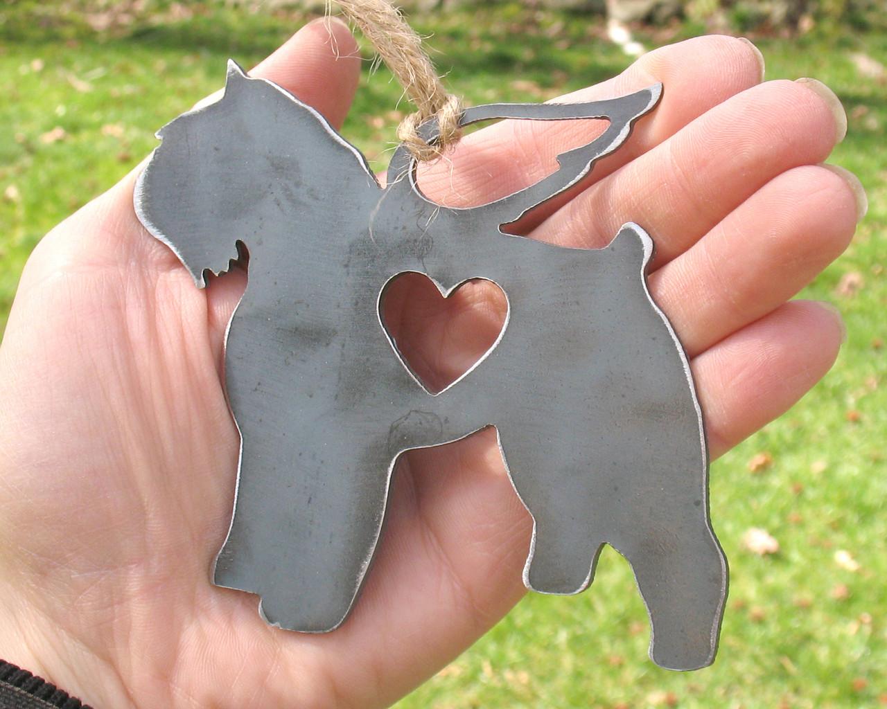 Bouvier Des Flandres Dog Ornament Pet Memorial W/ Angel Wings - Pet Loss Dog Sympathy Remembrance Gift - Metal Dog Christmas Ornament