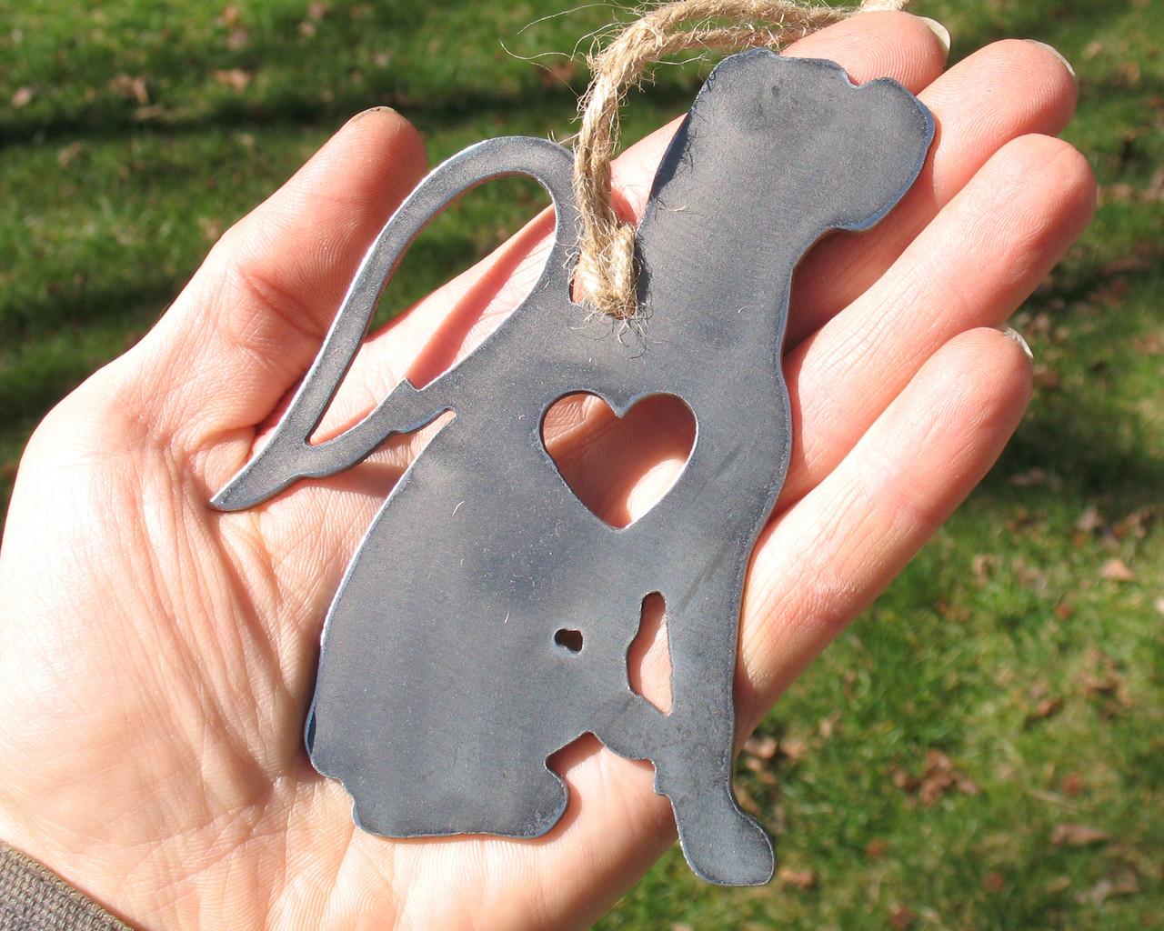 Boxer Dog Ornament 1 Pet Memorial W/ Angel Wings - Pet Loss Dog Sympathy Remembrance Gift - Metal Dog Christmas Ornament