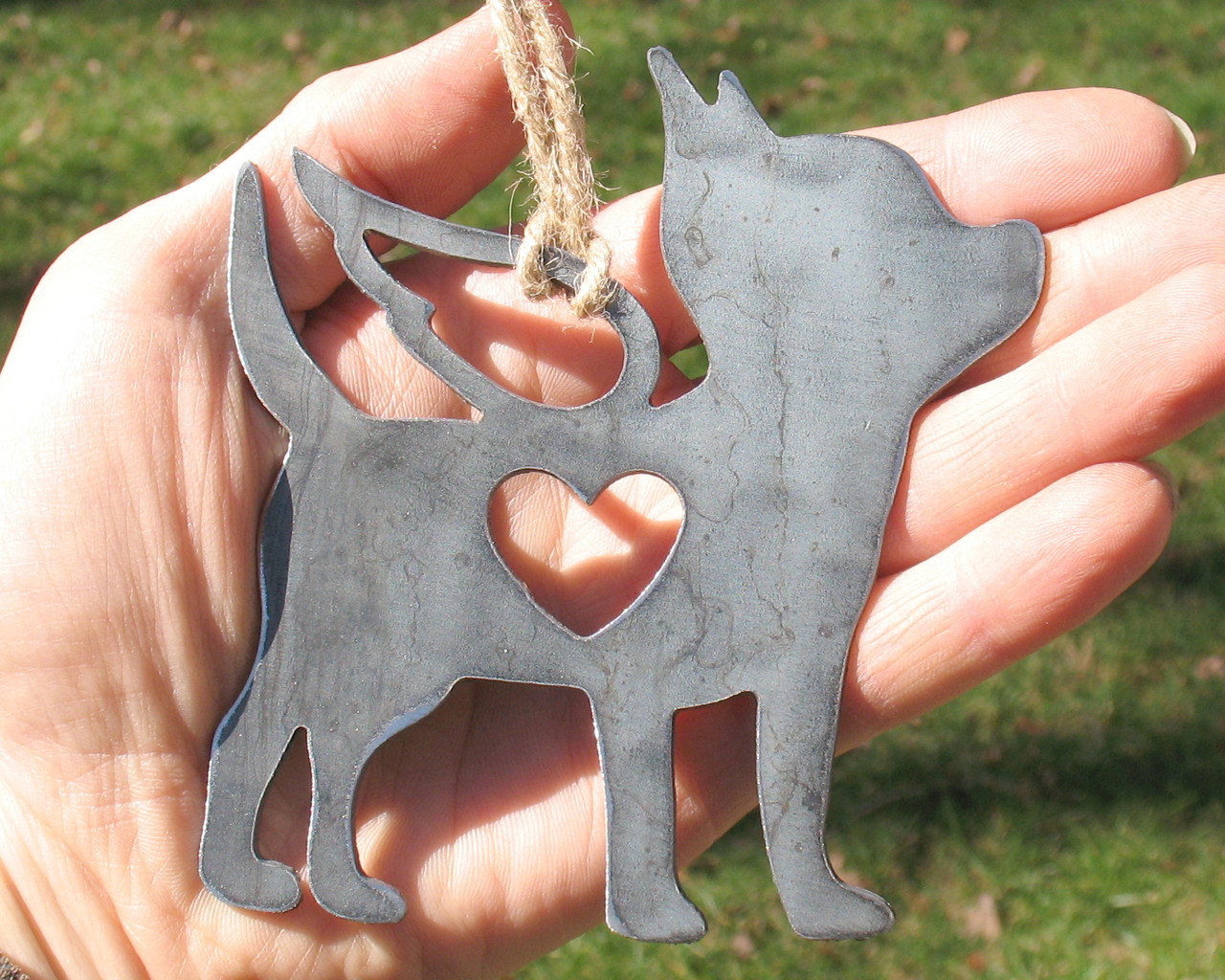 Chihuahua Dog Ornament 2 Pet Memorial W/ Angel Wings - Pet Loss Dog Sympathy Remembrance Gift - Metal Dog Christmas Ornament