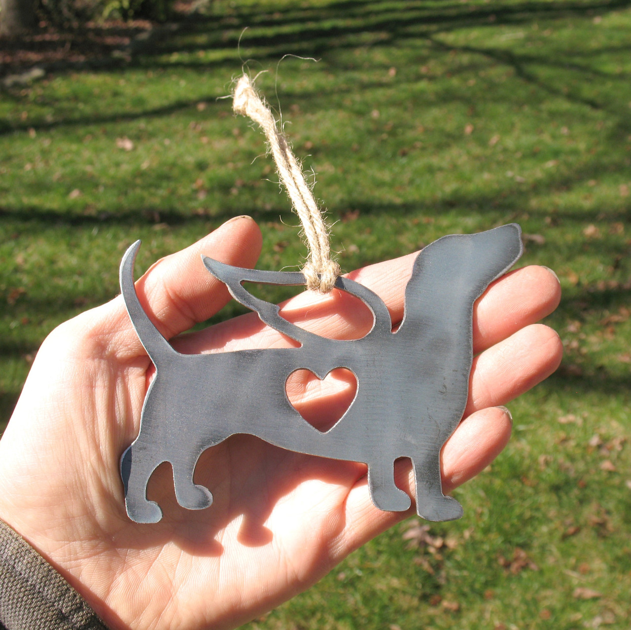 Dachshund Dog Ornament 1 Pet Memorial W/ Angel Wings - Pet Loss Dog Sympathy Remembrance Gift - Metal Dog Christmas Ornament