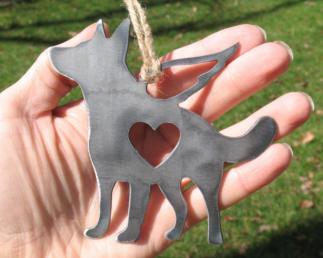 German Shepherd Dog Ornament 3 Pet Memorial W/ Angel Wings - Pet Loss Dog Sympathy Remembrance Gift - Metal Dog Christmas Ornament