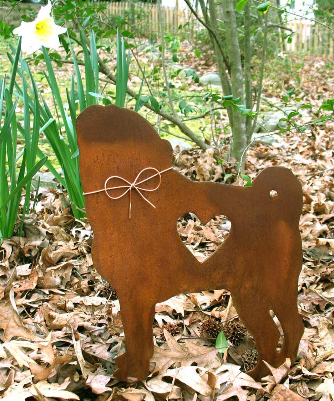 Pug Dog Metal Garden Stake - Metal Yard Art - Metal Garden Art - Pet Memorial