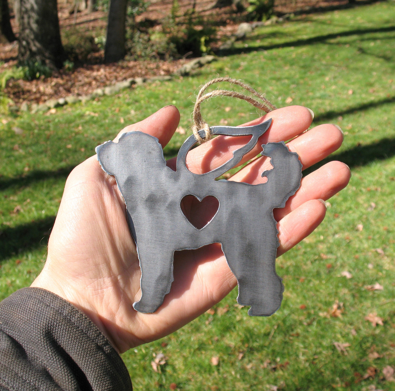 Labradoodle Goldendoodle Dog Ornament Pet Memorial W/ Angel Wings - Pet Loss Dog Sympathy Remembrance Gift - Metal Dog Christmas Ornament