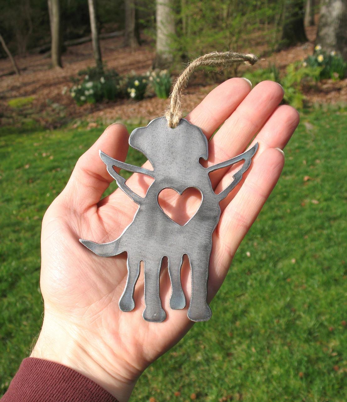 Labrador Retriever Dog Ornament 1 Pet Memorial W/ Angel Wings - Pet Loss Dog Sympathy Remembrance Gift - Metal Dog Christmas Ornament
