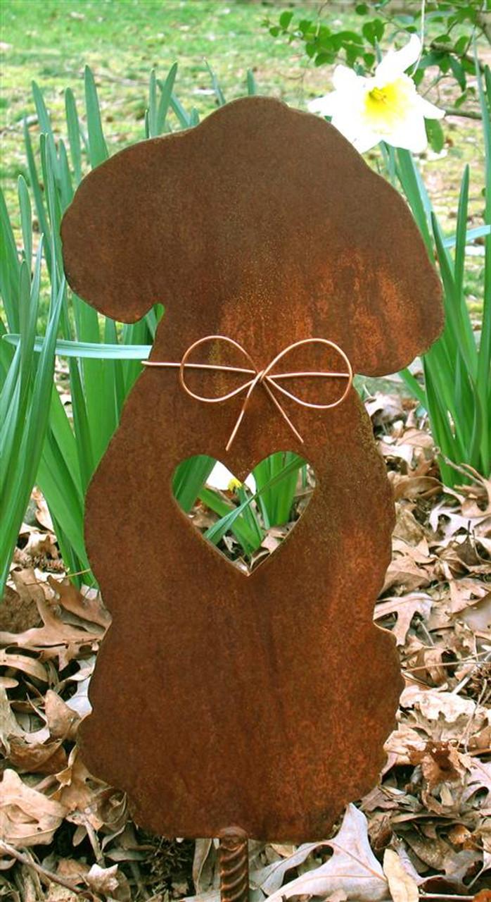 Poodle Dog Metal Garden Stake - Metal Yard Art - Metal Garden Art - Pet Memorial