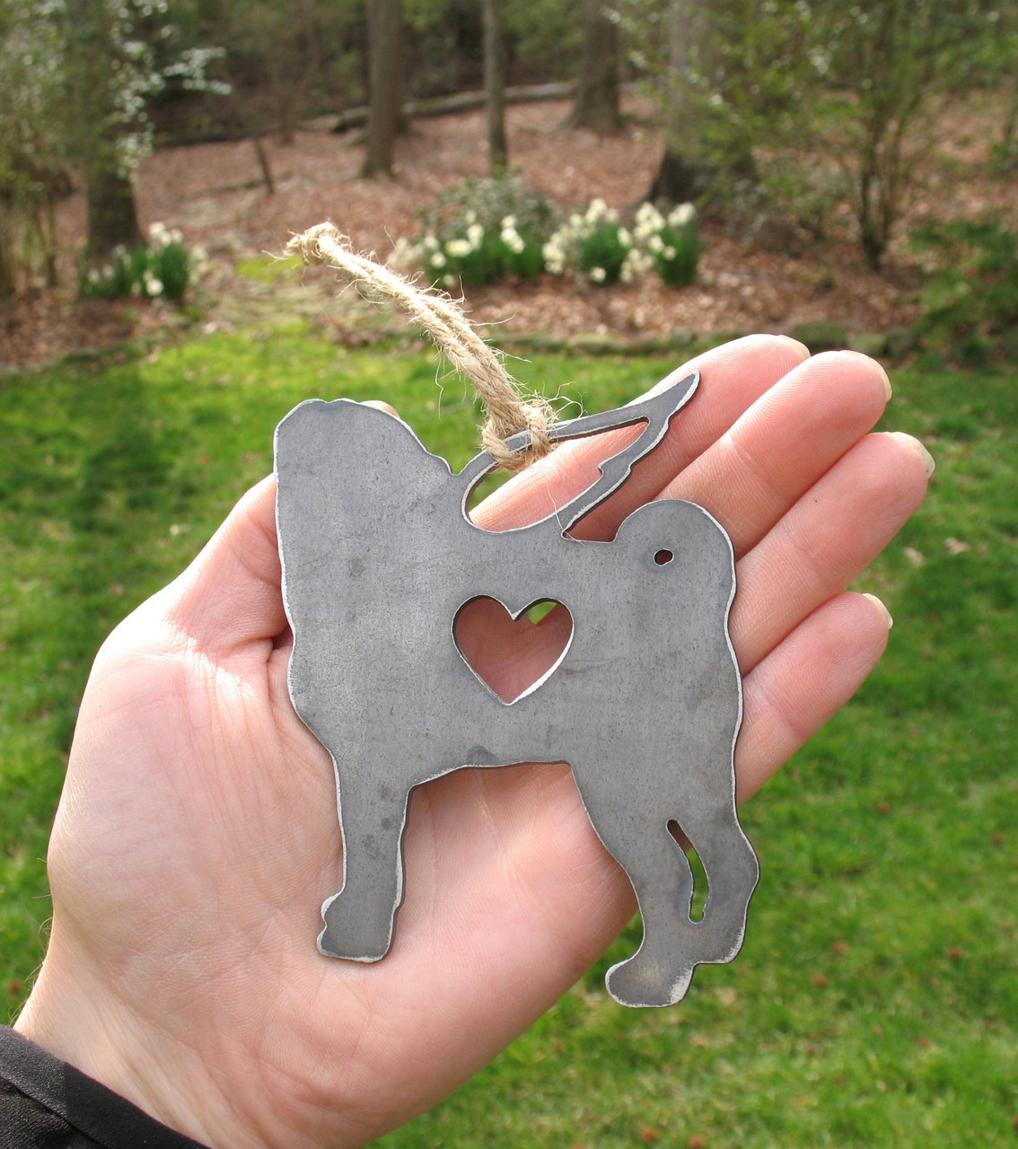 Pug Dog Ornament 1 Pet Memorial W/ Angel Wings - Pet Loss Dog Sympathy Remembrance Gift - Metal Dog Christmas Ornament
