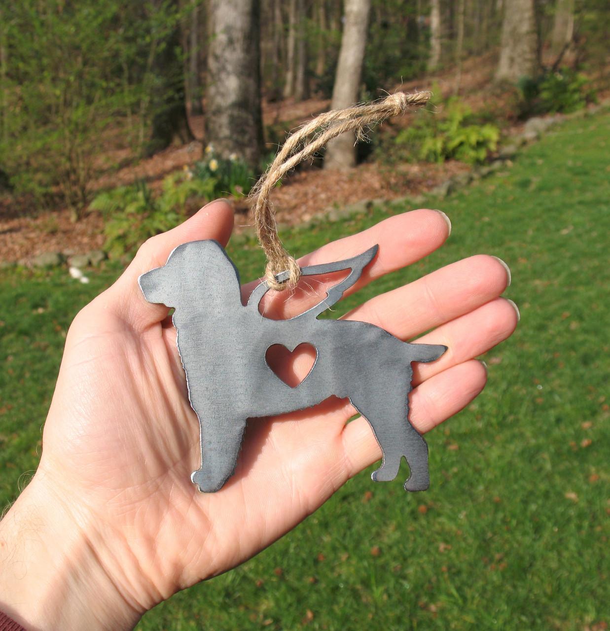 Springer Spaniel Dog Ornament 1 Pet Memorial W/ Angel Wings - Pet Loss Dog Sympathy Remembrance Gift - Metal Dog Christmas Ornament